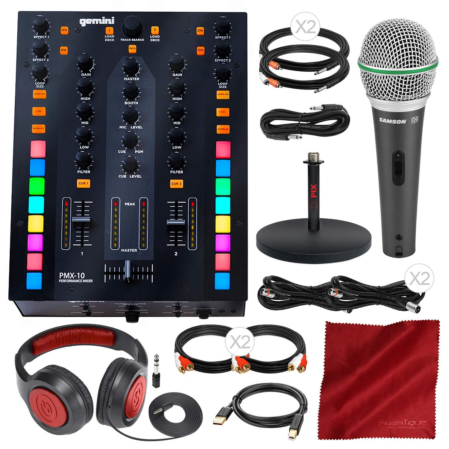 Gemini PMX-10 A- A-B/DJ Mixer Box with Microphone, Headphones & Assorted Cables Deluxe Bundle by Gemini - PS