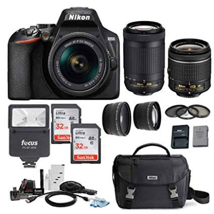 Nikon D3500 DSLR Camera with AF-P 18-55mm and 70-300mm Zoom Lenses with  Total of 64GB Card (2 X 32) and Accessory Bundle