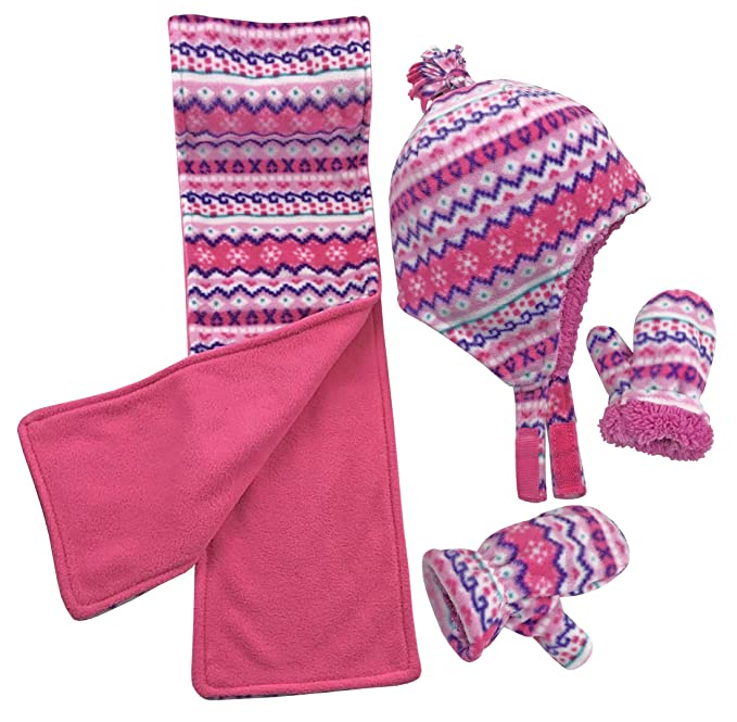NIce Caps Girls Sherpa Lined Fair Isle Printed Fleece Hat//Scarf//Mitten Set