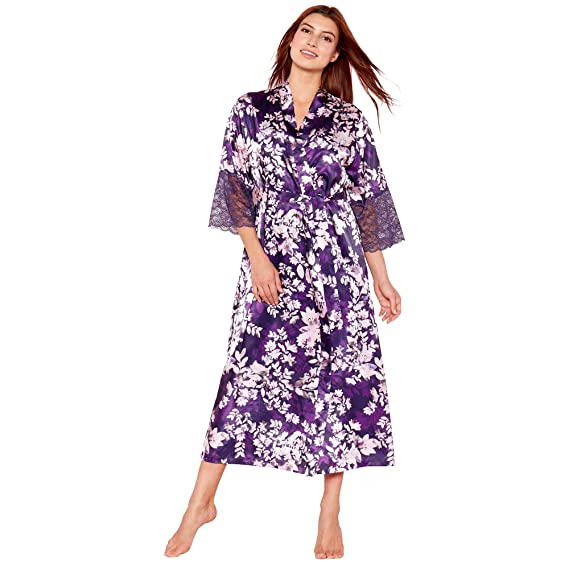 The Collection Purple Floral Print  Mystry  Satin Kimono Dressing Gown ... 6680bb794