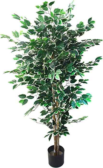 Artificial Ficus Tree with Variegated Leaves and Natural Trunk, Beautiful Fake Plant for Indoor-Outdoor Home Décor-5 ft. Tall Topiary by Pure Garden