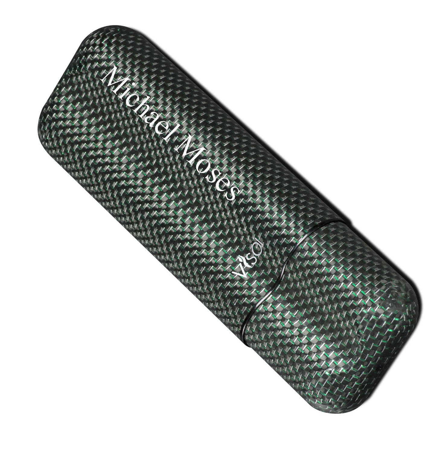 Personalized Visol Two Finger Titanium Carbon Fiber Cigar Case with Free Printing by Visol