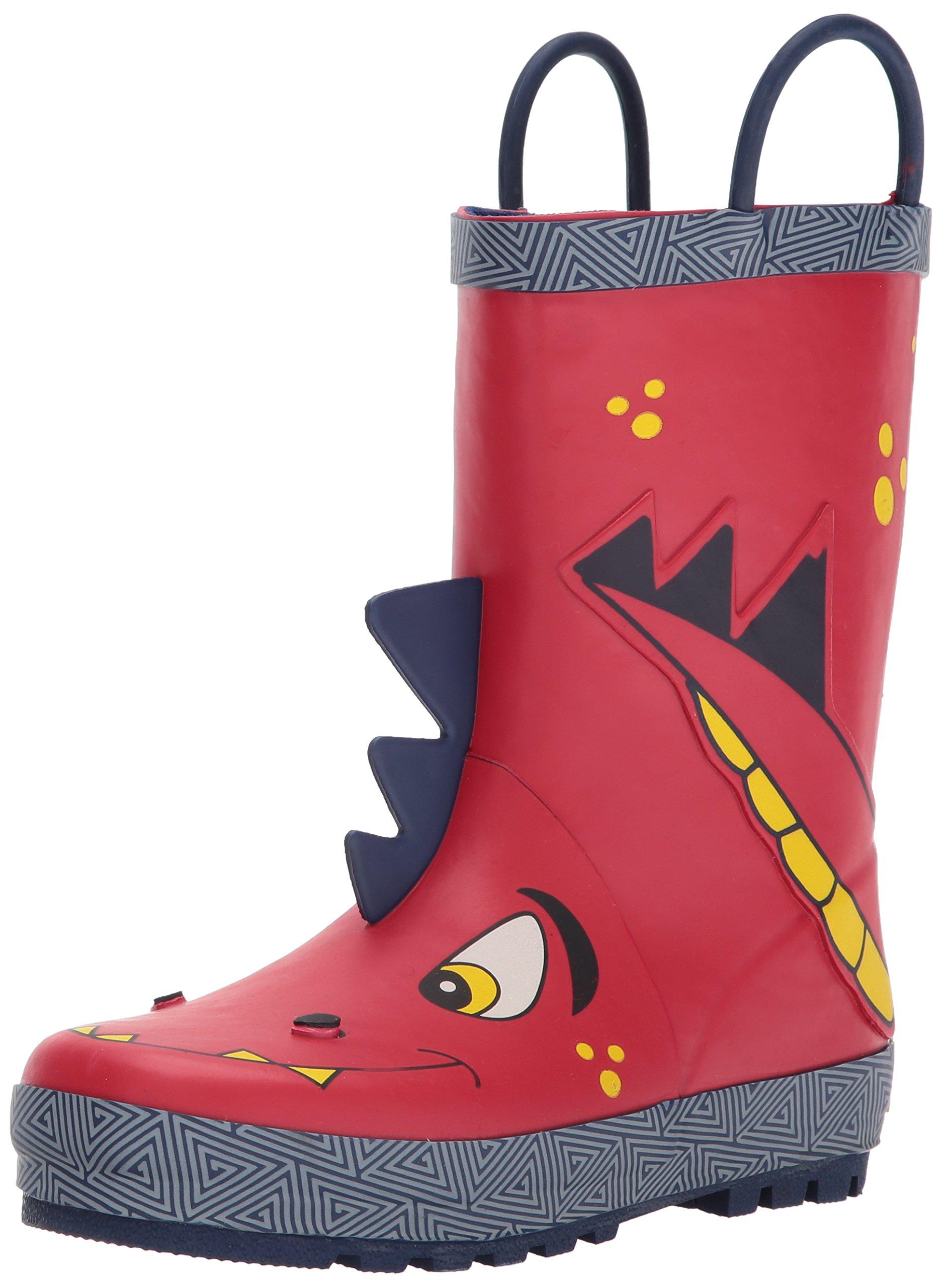 Western Chief Boys Waterproof Printed Rain Boot with Easy Pull On Handles, Spike, 13 M US Little Kid