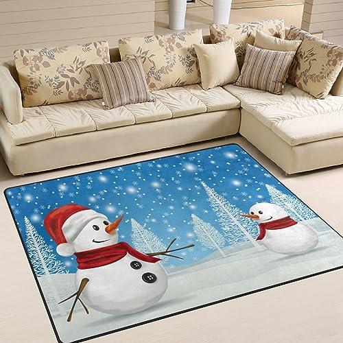 ALAZA Winter Snow Snowman Christmas Area Rug Rugs Mat