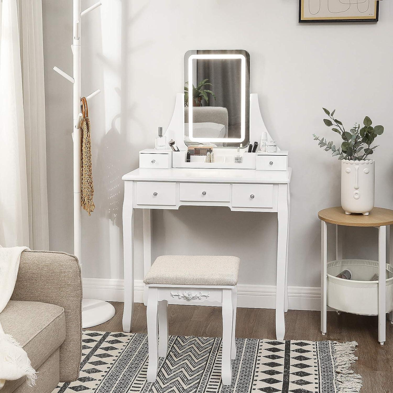 Bellezza Tavolo da salotto con sgabello imbottito Specchio completo Camera letto