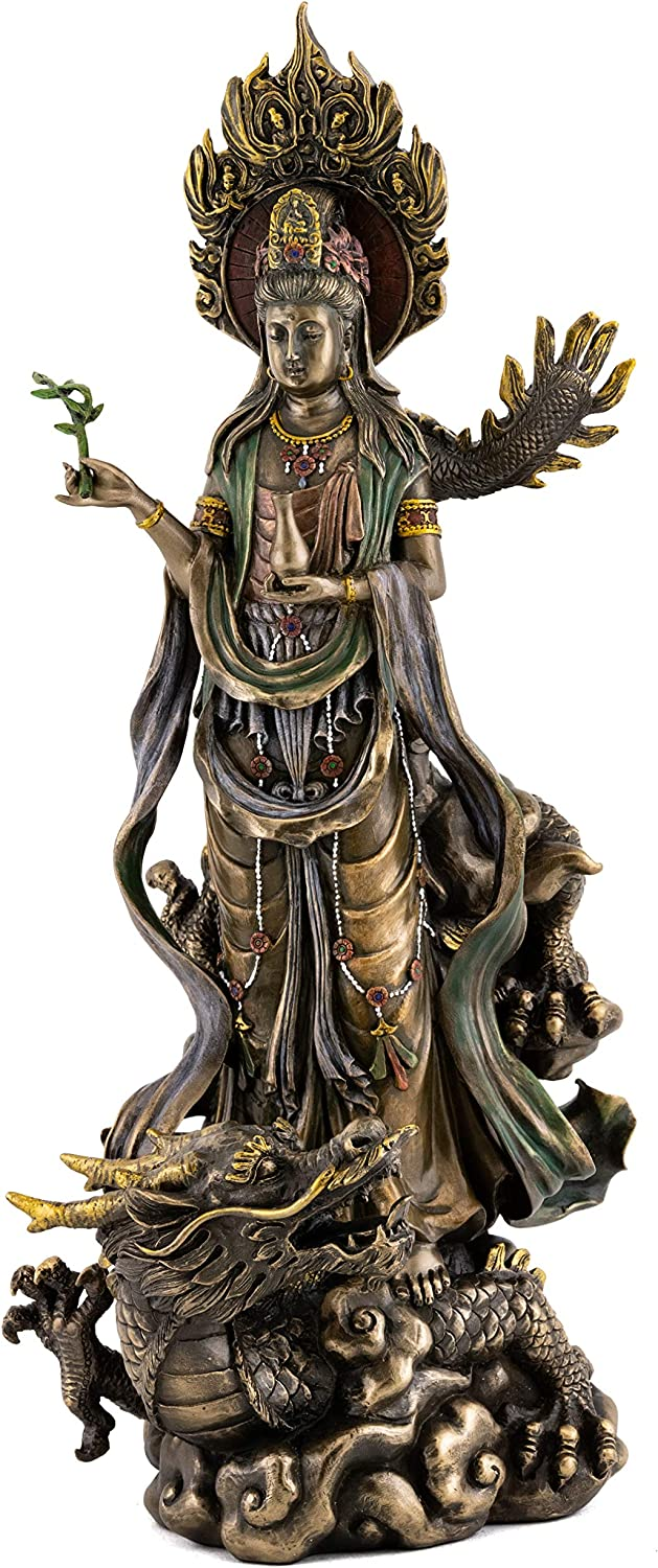 Top Collection Quan Yin on Dragon Statue - Kwan Yin Asian Goddess of Mercy and Compassion in Premium Cold Cast Bronze- 14-Inch Avalokiteshvara Collectible Figurine