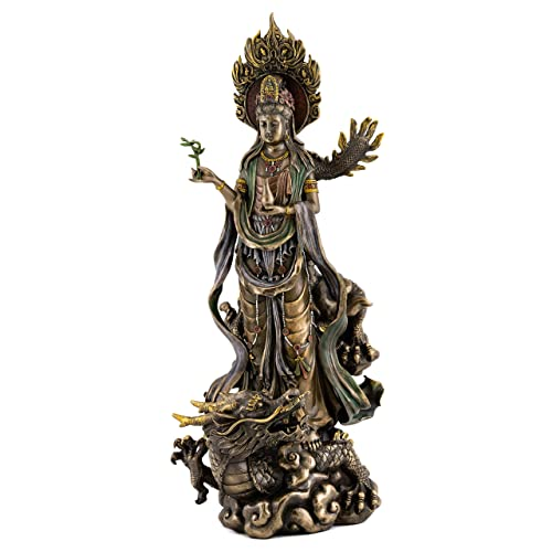 Top Collection Quan Yin on Dragon Statue – Kwan Yin Asian Goddess of Mercy and Compassion in Premium Cold Cast Bronze- 14-Inch Avalokiteshvara Collectible Figurine