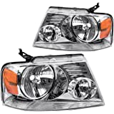 For Ford F150 Pickup 2004-2008 Headlight Chrome Housing Amber Reflector Clear Lens,Passenger & Driver side