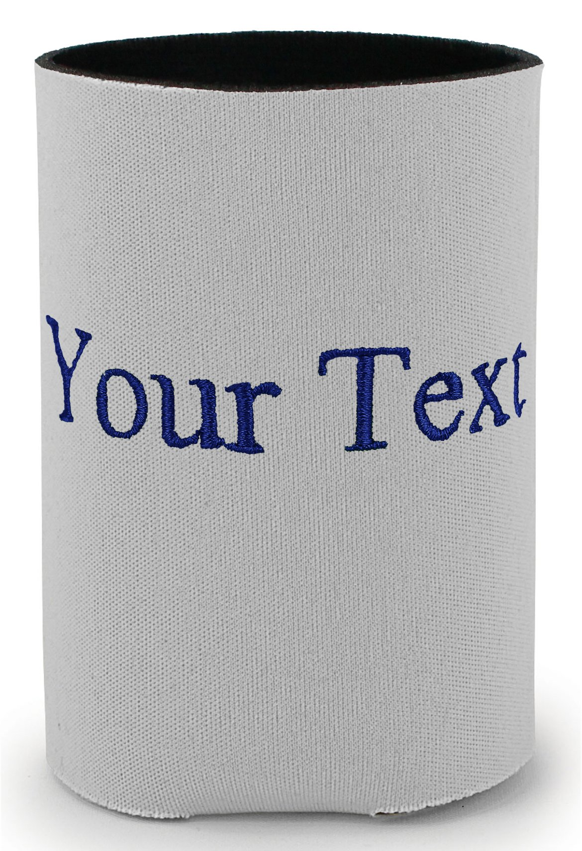 Personalized Grey Can Cooler with Embroidered 1 Line (Pack of 16) by Monogrammed Me