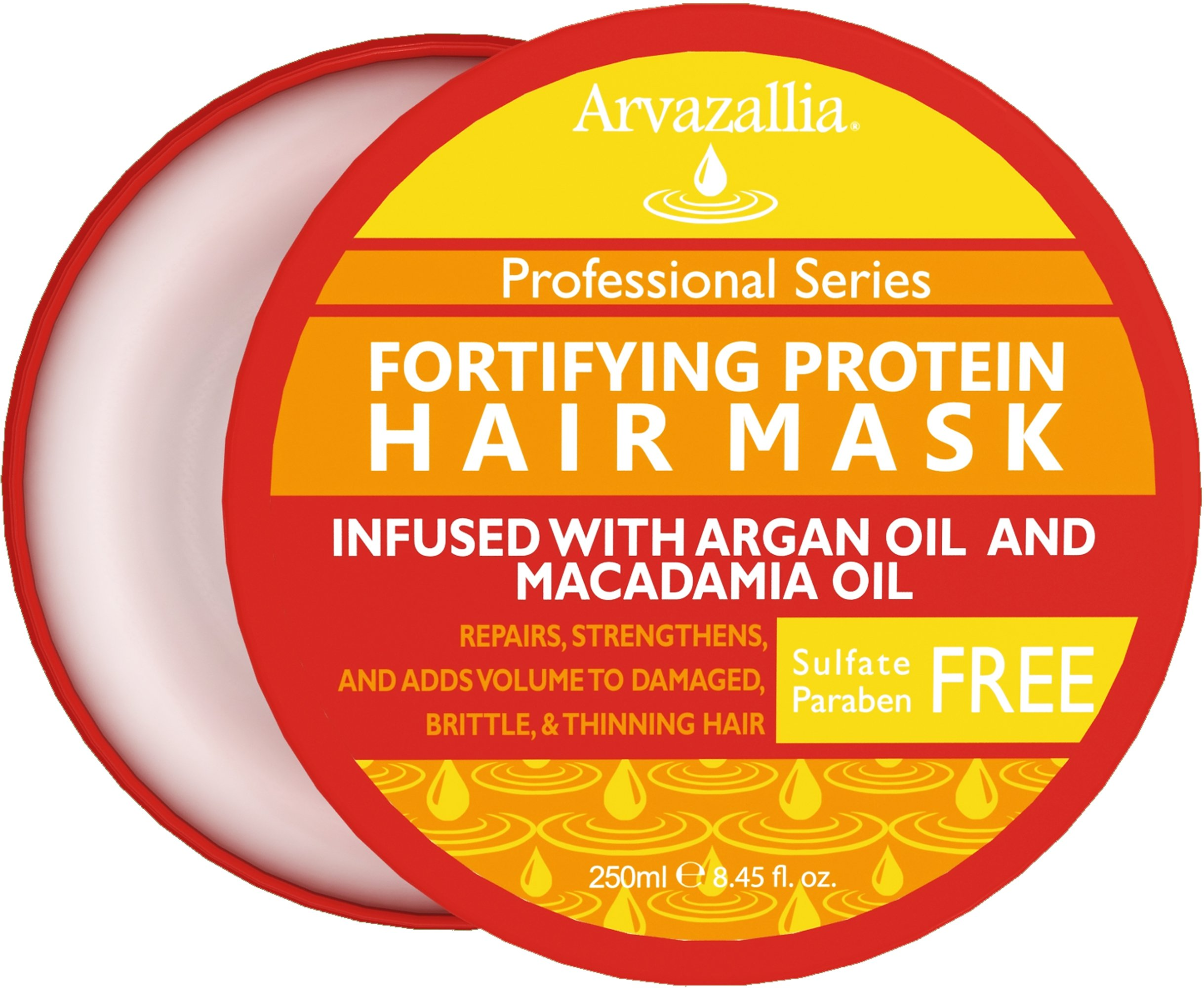 Fortifying Protein Hair Mask and Deep Conditioner with Argan Oil and Macadamia Oil By Arvazallia - Hair Repair Treatment for Damaged, Brittle, or Thinning Hair - Promotes Natural Hair Growth by Arvazallia