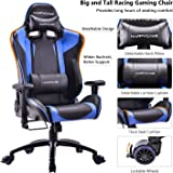 HAPPYGAME Big and Tall 400lb Gaming Chair - Adjustable Tilt, Back Angle Ergonomic High Back Racing Leather Executive Computer Desk Office Chair with Padded Headrest and Lumbar Support