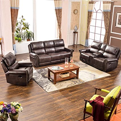 Harper&Bright Designs Living Room Sectional Sofa Recliner Set Accent Chair  Reclining Couch Chaise Lounge(Recliner&loveseat&3 seat Sofa)