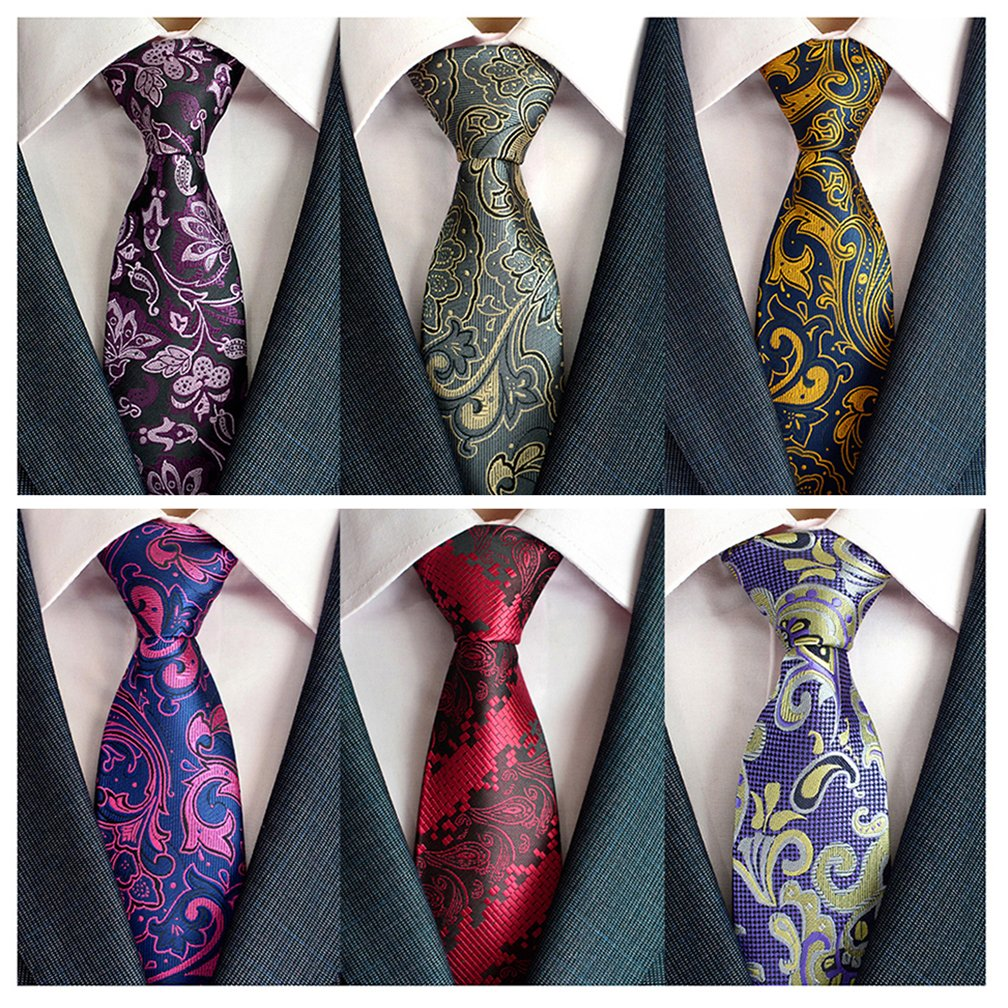c152221cf6f43 Adulove Men s Necktie Classic Silk Tie Woven Jacquard Neck Ties 6 9   12 PCS