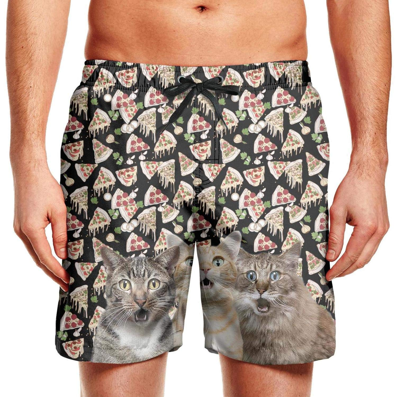 CCBING Cats Pizza Puzzle Printed Mens Summer Beach Swim Trunk Water Resistant Swimwear