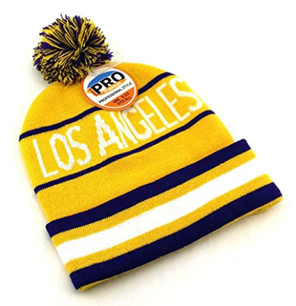 buy popular 79993 bc7a9 Amazon.com  Legend of the Game Los Angeles New LA Top Pro City Youth Kids Beanie  Pom Lakers Colors Purple Gold Knit Cuffed Era Hat Cap  Sports   Outdoors