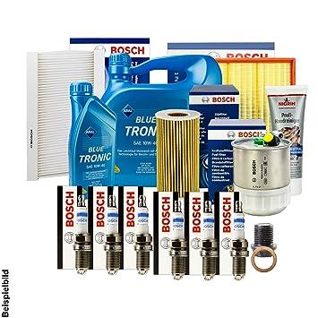 Bosch filtro + Velas + Junta + 5 l Aral 10 W-40 Aceite + accesorios: Amazon.es: Coche y moto
