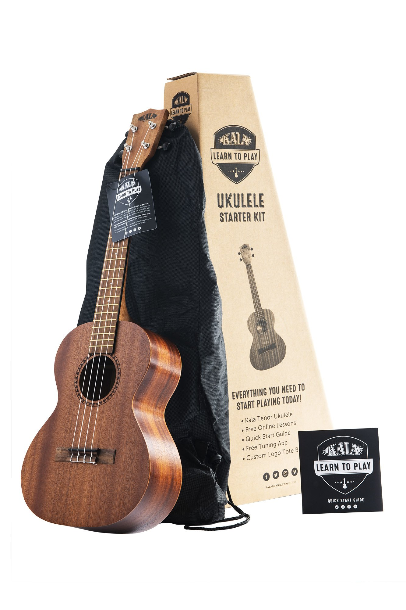 Official Kala Learn to Play Ukulele Tenor Starter Kit, Satin Mahogany – Includes online lessons, tuner app, and booklet (KALA-LTP-T)