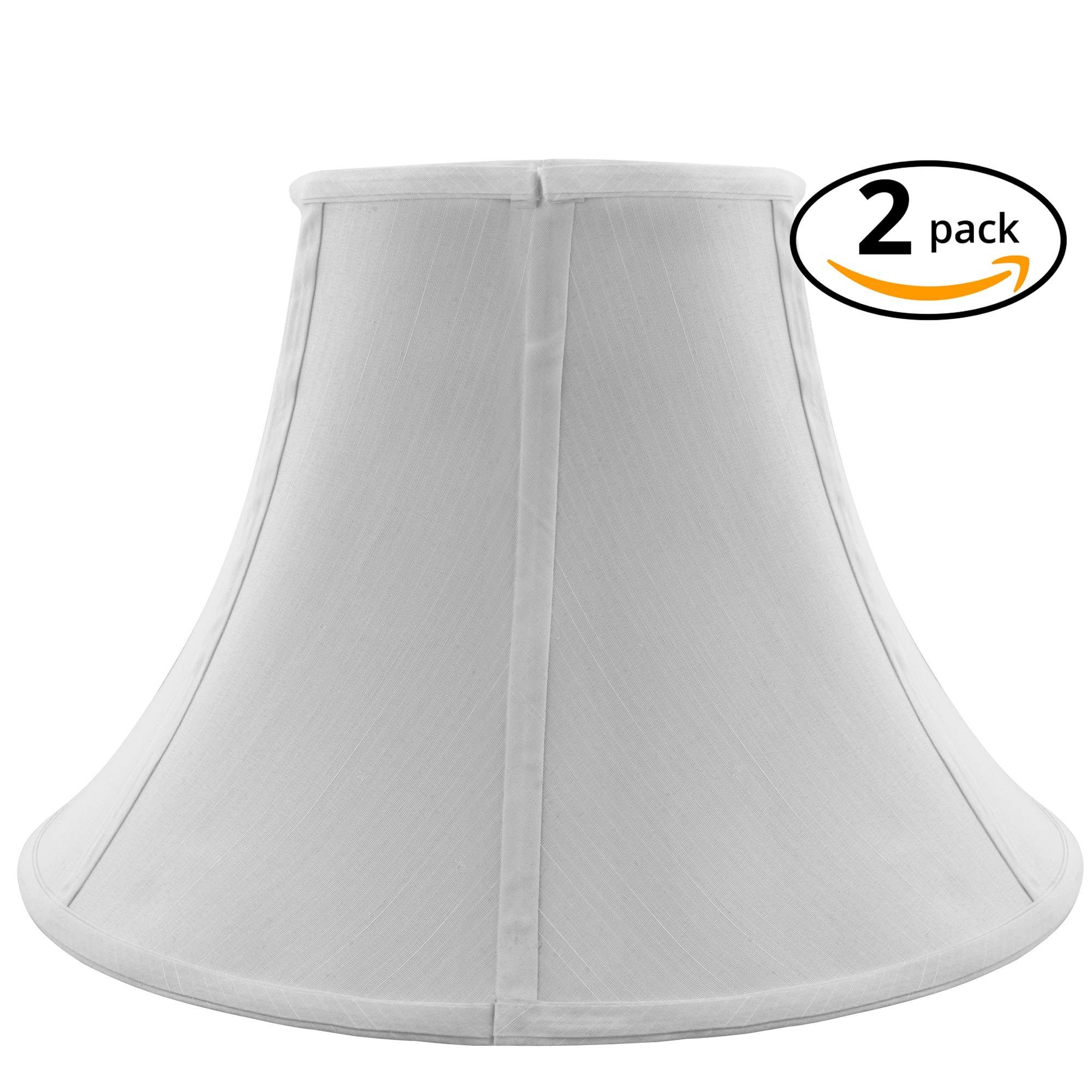 TRIPLE TREE Lamp Shade, Lamp Shade Set with Fabric,Zinc Coating Spider and Metal Frame for Pendant Lighting and Table Lamp, 10'' x 18'' x 11'',Set of 2 (White) by TRIPLE TREE