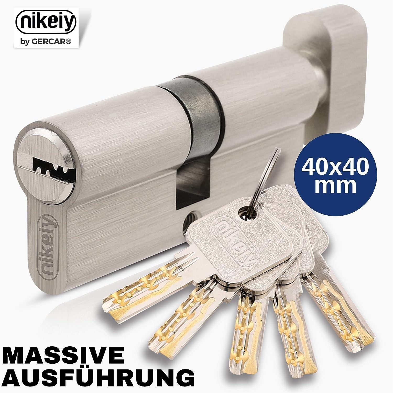 GERCAR Pro 80 mm 40//40 Cilindro de cerradura macizo con pomo lat/ón niquelado, incluye 5 llaves