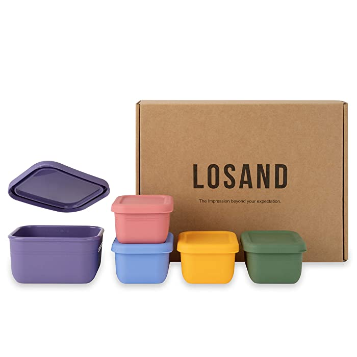LOSAND Platinum Silicone Baby Food Storage – 5Pcs Set Baby Food Containers with Lids – Non-BPA Silicone Food Storage – Leak Resistant Airtight Lids – Microwave and Freezer Safe (5PCS Set)
