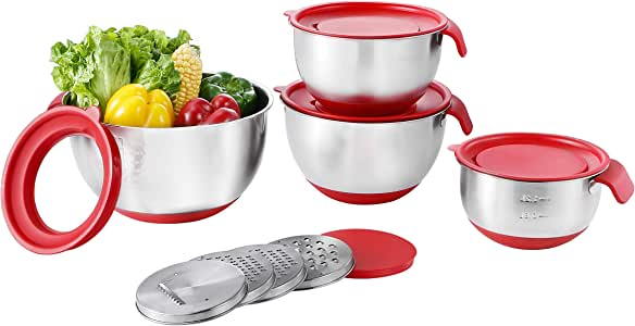 Stainless Steel Mixing Bowls with Airtight Lids (Set of 4) Measurement Marks & Non-Slip Bottom Nesting Bowls for Kitchen Cooking Baking Food Storage with 3 Graters,Great for Mixing & Serving