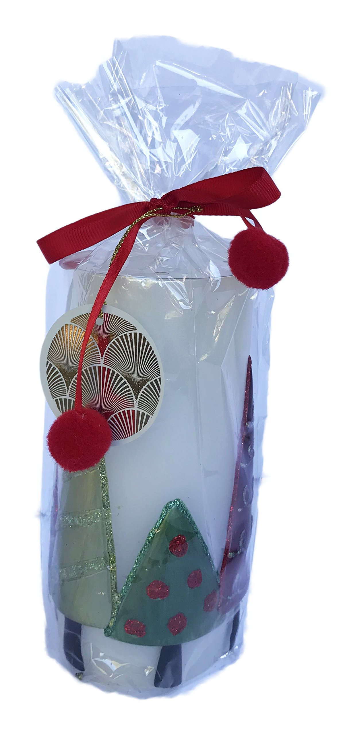 White Cylinder Christmas Candle with Green and Red Embellished Trees 6'' High x 3'' Wide