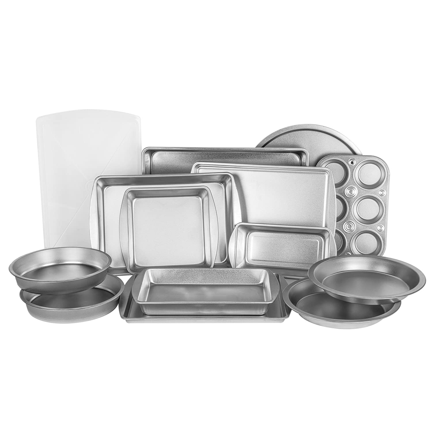 EZ Baker Uncoated, Durable Steel Construction 12-Piece Bakeware Set - Natural Baking Surface that Heats Evenly for Perfect Baking Results, Set Includes all Necessary Pans AZ1212T