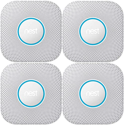 Nest Protect 2nd Generation Smoke Carbon Monoxide Alarm 4-Pack S3003LWES Wired Smoke Alarm, White