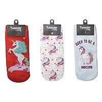 Tweezer Set de 3 Pares de Tines con diseño (Calcetas). Tines Rojo diseño Unicornio, Tines diseño Unicornios Multicolor y Tines Celeste diseño Unicornio
