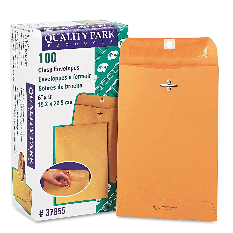 Quality Park 37855 Gummed Clasp Envelope, 28Lb, 6''x9'', 100/BX, Kraft