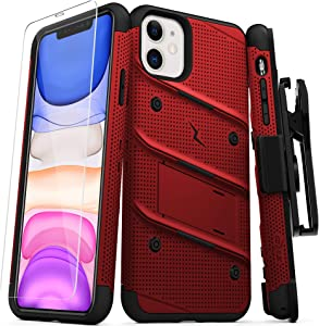 Zizo Bolt Cover - Case for iPhone 11 with Military Grade + Glass Screen Protector & Kickstand and Holster (Red/Black)