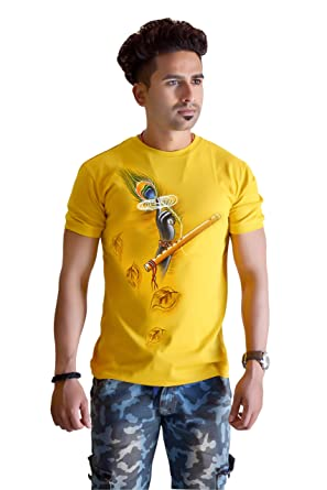 78ed3974 SketchLion Stylish Hand Painted T-Shirt- Round Neck Lord Krishna Peacock  Feather Print T