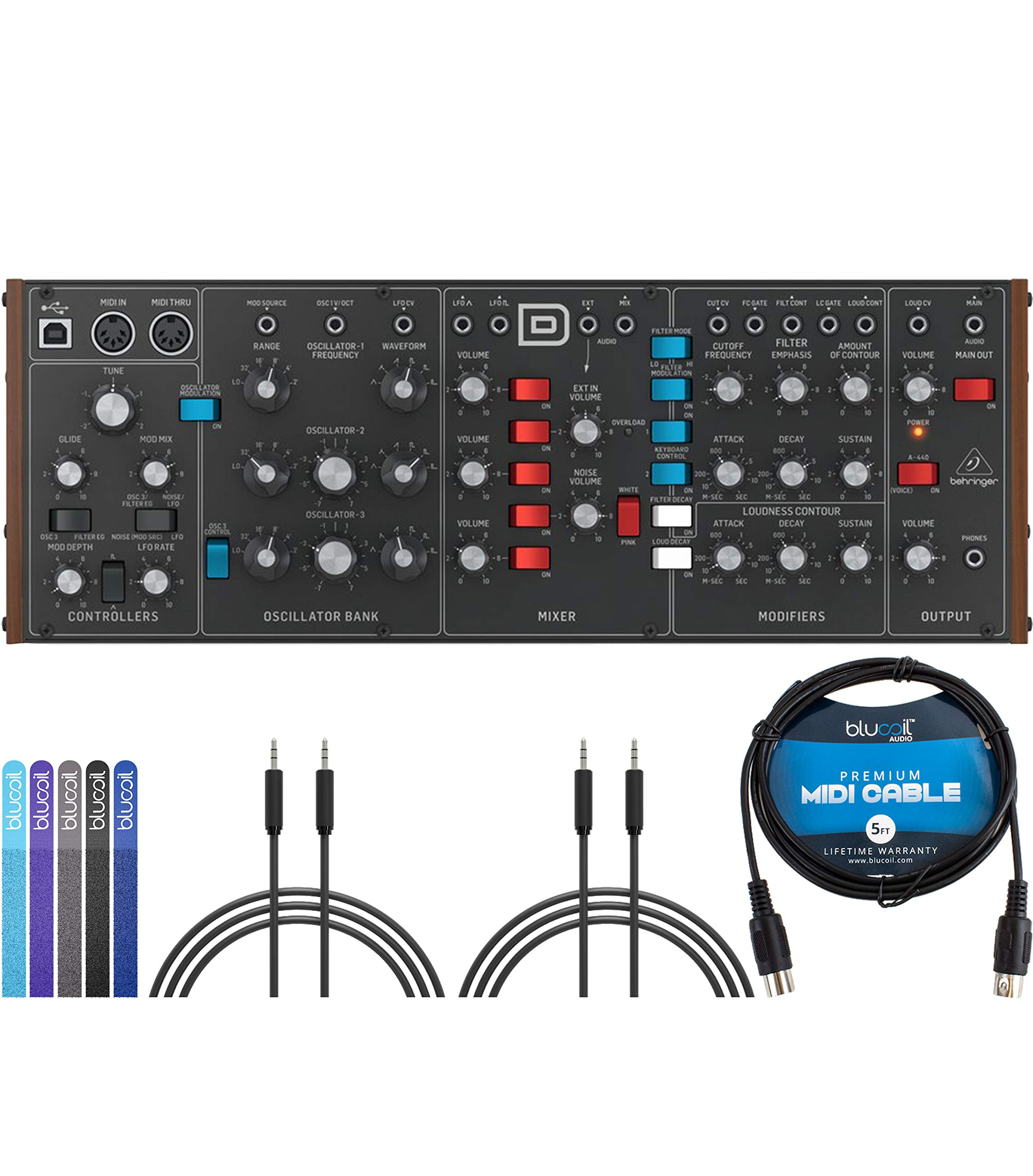 Behringer MODEL D Monophonic Synthesizer Bundle with 2-Pack of 6-FT Stereo Aux Cables, Blucoil 5-FT MIDI Cable, and 5-Pack of Reusable Cable Ties