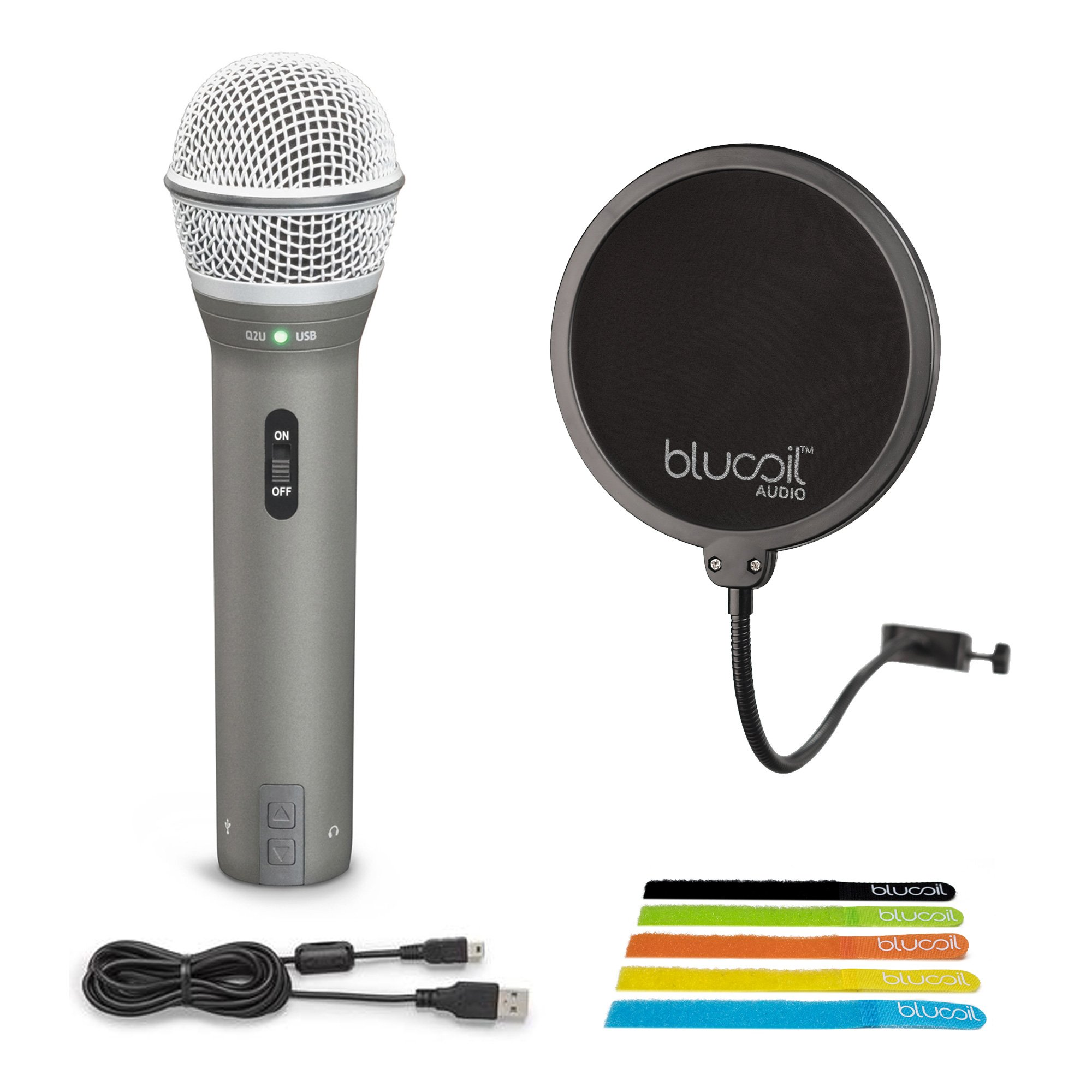 Samson Q2U Handheld Dynamic USB XLR Microphone for Windows, Mac, iPad -INCLUDES- Blucoil Pop Filter AND 5-Pack of Cable Ties