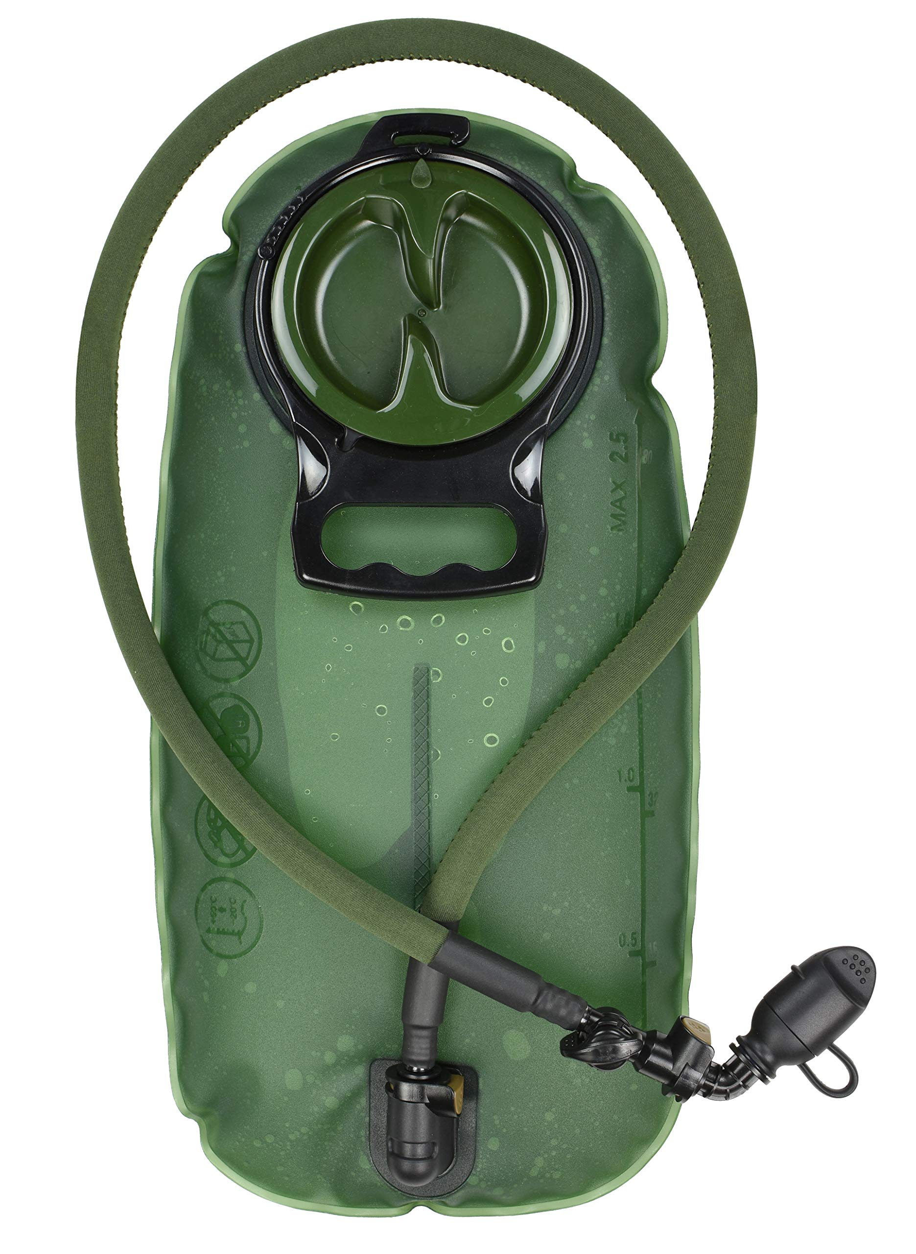 MARCHWAY 2L/2.5L/3L TPU Hydration Bladder, Tasteless BPA Free Water Reservoir Bag with Insulated Tube for Hydration Pack for Cycling, Hiking, Running, Climbing, Biking (2.5L Green 85oz) by MARCHWAY