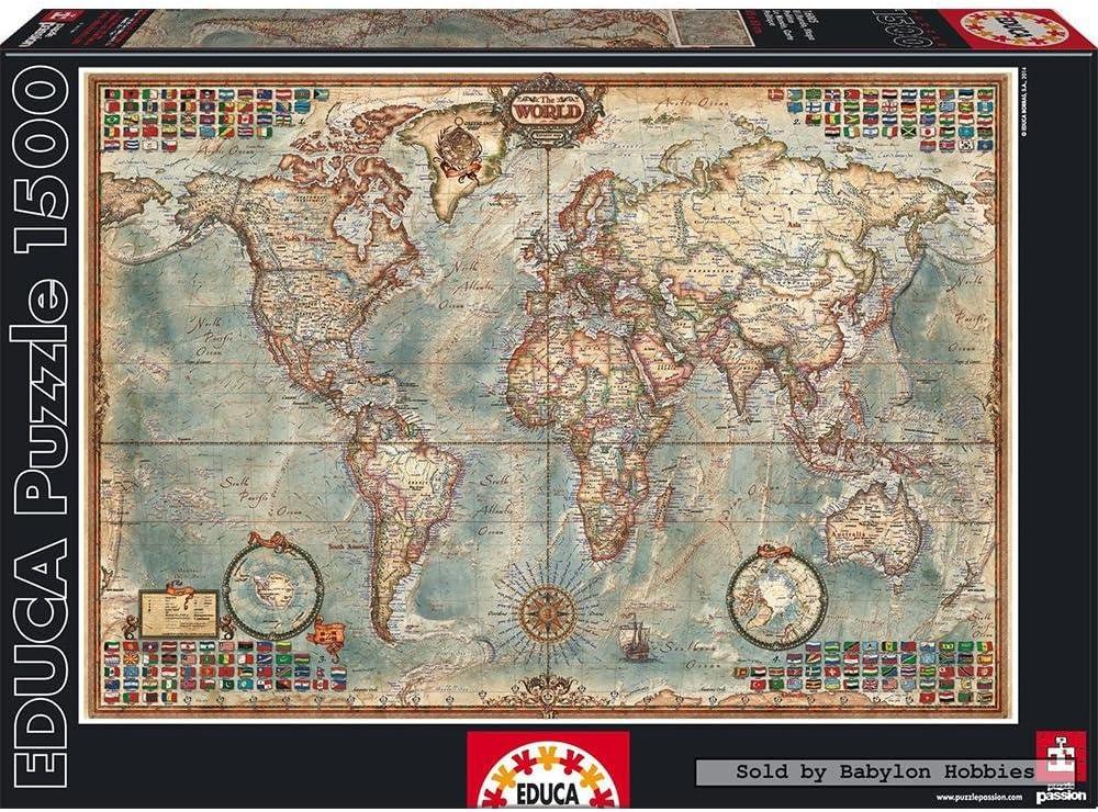 Educa Borras mundo, mapa político.(Puzzle 1500): Amazon.es: Juguetes y juegos