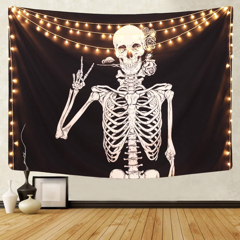 Beach Towel Tapestry Wall Hanging Mat Skull Skeleton Bedspread Blanket Scarf !