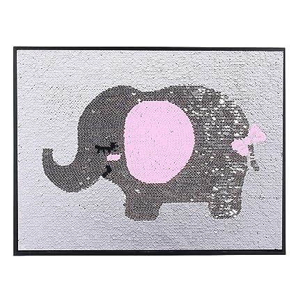 Fulu Bro Pink Elephant Sequins Decor Silver Wall Art Girls Gifts For Kids Women Lovers Bedroom Living Room Decor Female Elephant