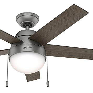 Hunter 46 contemporary low profile ceiling fan with light kit in matte silver certified refurbished hunter 46quot contemporary low profile ceiling fan with light kit in matte silver certified mozeypictures Choice Image