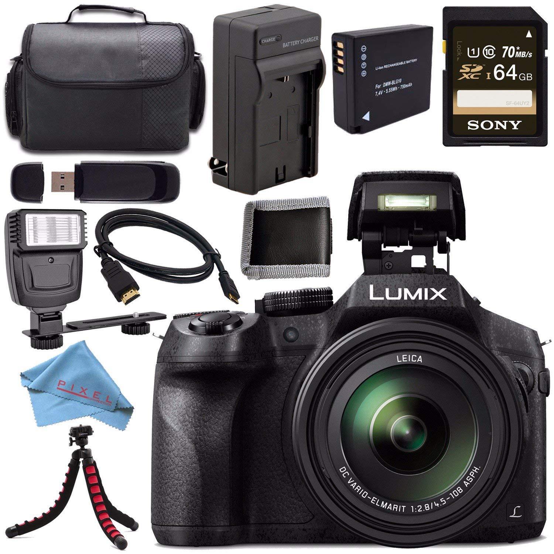 Panasonic Lumix DMC-FZ300 DMC-FZ300K Digital Camera + DMW-BLC12 Lithium Ion Battery + Charger + Sony 64GB SDXC Card + Case + Tripod + Micro HDMI Cable ...