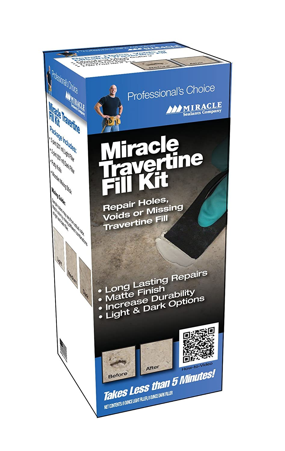 Miracle Sealants Travertine Fill Kit - for Crack & Hole Repair on Limestone, Terrazzo & Unpolished Stone TRAV FIL 6/1