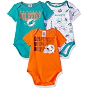 Gerber Childrenswear NFL Miami Dolphins Boys Short Sleeve Bodysuit (3 Pack), 0-3 Months, Aqua