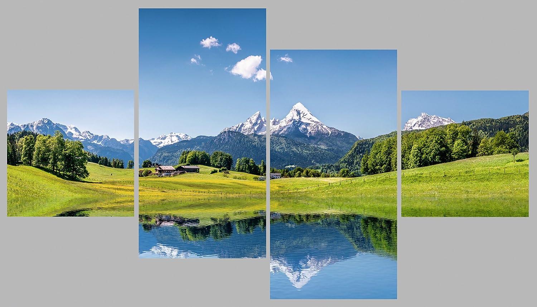 Artland Qualitätsbilder   Glasbild Deko Glas Bilder 120 x 70 cm mehrteilig Alpen Landschaft Berge Sommer Natur B6VF