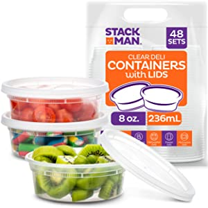 Stack Man [48 Pack, 8 oz] Plastic Deli Food Storage Slime Containers With Airtight Lids, Freezer Safe | Meal Prep | Stackable | Leakproof | BPA Free, Clear