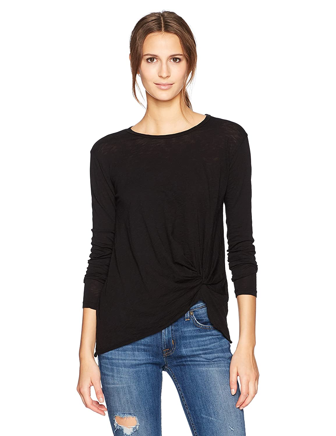 Black Stateside Womens Standard Supima Slub Long Sleeve Twist Tee