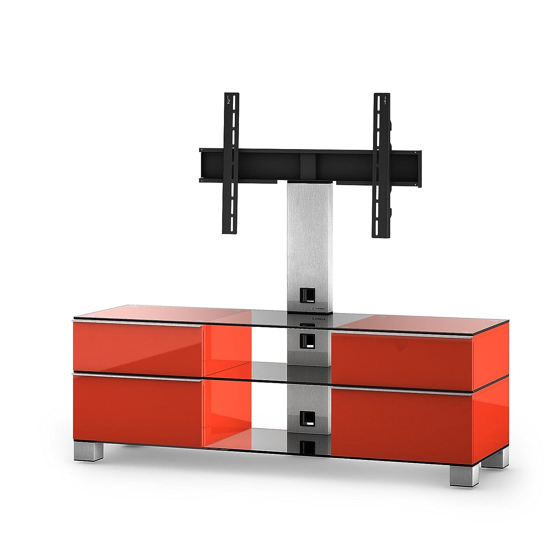 Sonorous MD 8240-C-INX-RED Fernseher-Möbel mit Klarglas (Aluminium Inox, Korpus Hochglanzdekor) rot