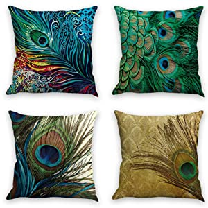 laime Throw Pillow Covers Natural Pattern Decorative Pillowcases 18x18inch (4 Pieces Set) Pillow Cases Home Car Decorative Peacock Feather