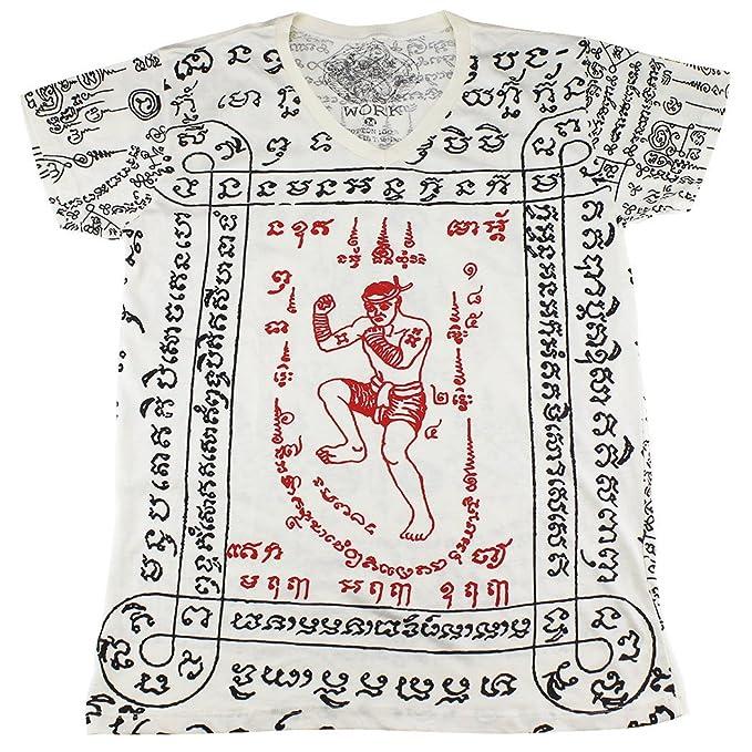 7b4a22d6cd694 WORK muay thai tattoo sak yant mma kickboxing T-Shirt White / WK13 ...