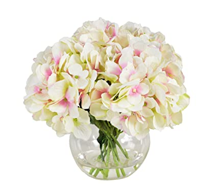 Amazon Hydrangea Bouquet In Glass Bubble Vase Home Kitchen