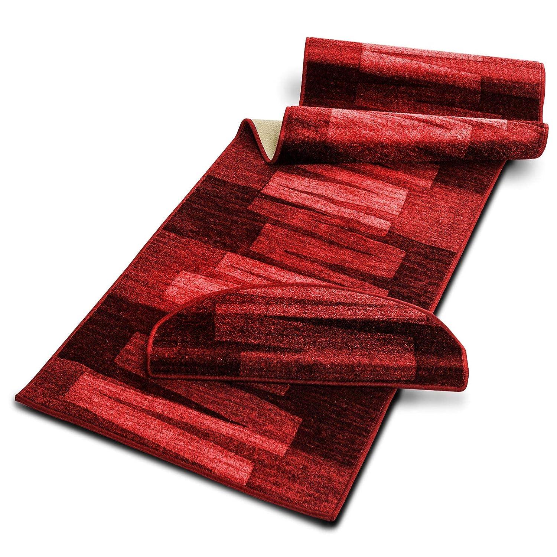 Casa pura Läufer mit Pinselstrich Muster   Rot Rot Rot   Qualitätsprodukt aus Deutschland   GUT Siegel   kombinierbar mit Stufenmatten   3 Breiten und 18 Längen (100 x 250 cm) B016OHFJN0 Lufer f46547
